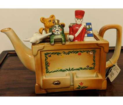 Vintage Paul Cardew Miniature Toy Box Teapot is a Blue, Brown, Green, White Collectibles for Sale in Novato CA