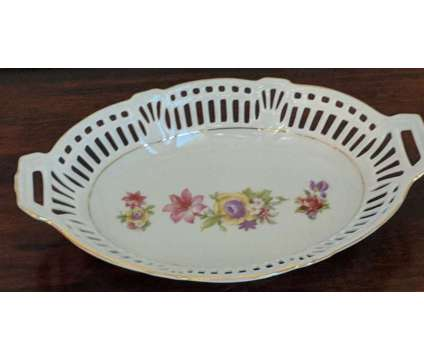 Vintage Oval Porcelain China Reticulated Dish is a Pink, White, Yellow Collectibles for Sale in Novato CA
