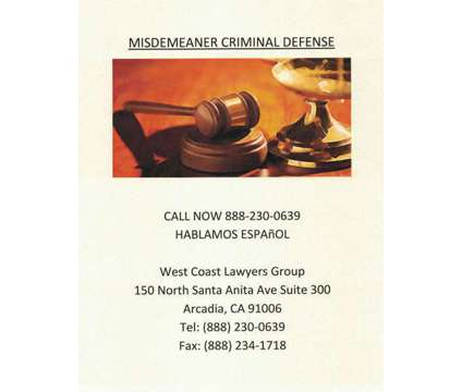 Misdemeanor Criminal Defense is a Legal Services service in Covina CA