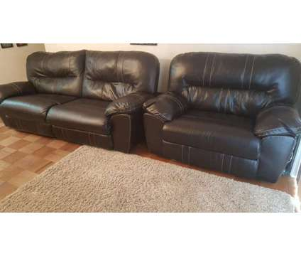 2 Seated Couch & Wide Recliner Expresso Color - Gently Used is a Couches for Sale in Riverside NJ