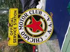 Lg 1930's Vintage AAA Chicago Motor Club Porcelain Sign Near Mint