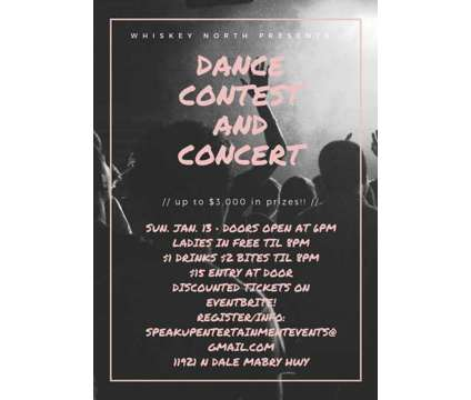 Whiskey North Dance Contest ($3k Prize) is a Concert Ticket on Jan 13 in Tampa FL