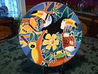 Hand Painted Platter, Bowl and Trivets