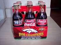 set of Coca-Cola bottles 1998 Champions Broncos