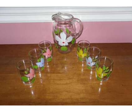 Vintage 1950s Hand Painted Summer Juice Glass and Pitcher Set By Hazel is a Collectibles for Sale in Webster NY