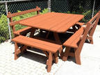 Solid Redwood Table and Benches Patio Furniture Set.