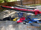 Folding kayaks (2) including paddles, rudders, spray skirts