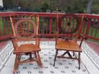 Antique Handmade Wooden Spinning Wheel Chair and Rocker