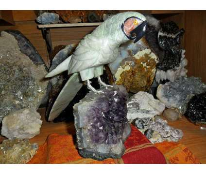 Beautiful Natural Huge Gemstone Macaw Parrot Bird Carving is a Black, Blue, Green, White, Yellow Collectibles for Sale in New York NY