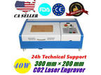 "300 mm × 200 mm 12 "" x 8 "" 40W CO2 Laser Engraver and"