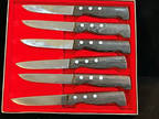 Set of 6~Steak Knives with Wood Handles~ Made in