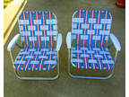 Vtg Matching Pair Aluminum Folding Lawn Or Beach Chair With