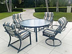 """Winston patio outdoor 54"""" round dining table set 4 cushioned"""