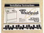 """1989 Whirlpool Installation Instructions 30"""" Electric"""