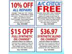 Auto ServiceOil Change Holiday Special