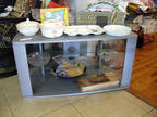 "1980's TV STAND DARK GRAY FORMICA AND GLASS 22 deep 21"" high"