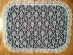 Table mats, set of 4, lace on brown, white on the back