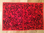 Table mats, red and black, felt, 10 x 12, red liner