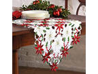 Christmas Flowers Table Runner Embroidery Dinning