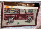 """TABLE RUNNER Red Antique Pickup TRUCK Tapestry 13"""" X 72"""""""