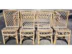 Set of 4 Vtg Unfinished Mid Century Modern Bamboo Rattan
