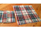 Table napkins with red, blue, green, and white, plaid