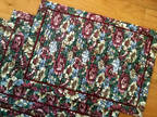 Table mats, 6, polyester, floral design, pleated on the