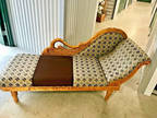 Designer Fabric-Covered Chaise Lounge Fainting Couch Wooden
