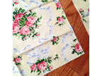 Table napkins, set of 2, yellow with flowers, polyester
