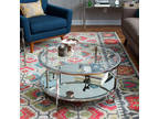 Coffee Table Modern Accent Round Glass thingtail Chrome Metal