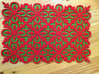 Table mats, set of three, green and red, carved felt.
