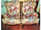 Pair Custom Upholstered Louis XVI French Provincial Chairs