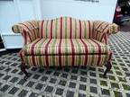 Vintage Striped One Pillow Couch Love Seat W/ Matching