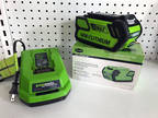 Green Works 40V Lithium Ion Charger and 2 Batteries