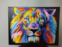 Rainbow Lion Canvas Painting 18in X 24 in