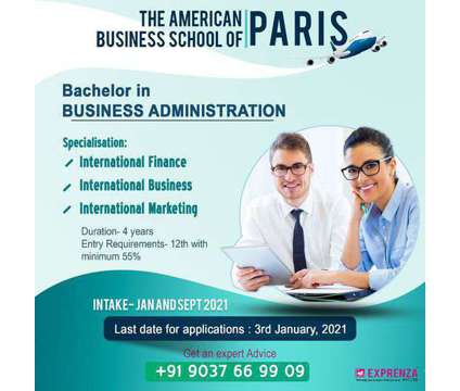 Bachelor in BUSINESS ADMINISTRATION at Paris is a Other Announcements listing in Ernakulam KL