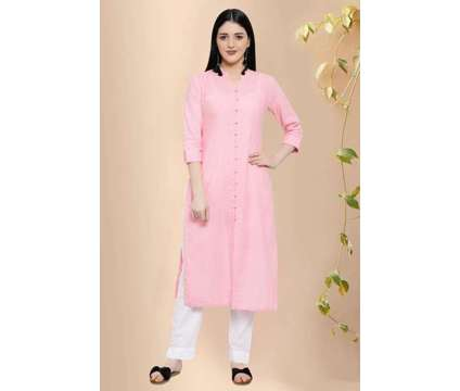 Laazmi Front Open Cotton Straight Kurta - Rose Shree is a Pink, White Dresses for Sale in Delhi DL