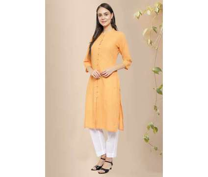 Carys Front Open Cotton Straight Kurta - Rose Shree is a White, Yellow Dresses for Sale in Delhi DL