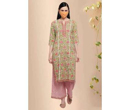 Shobha Pink Cotton Block Print Straight Kurta - Rose Shree is a Pink Dresses for Sale in Delhi DL