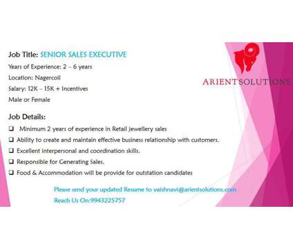 Senior sales executive is a Full Time Sales Executive in Retail Job at Arient Solutions in Coimbatore TN