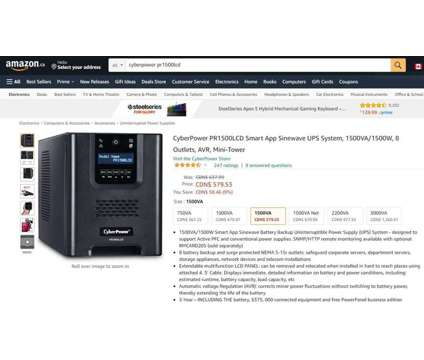(NEW) CyberPower PR1500LCD Smart App Sinewave UPS System 1500VA/1500W is a Other Computer Equipments for Sale in Toronto ON