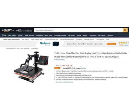 (NEW) T-Shirt Heat Press Machine Dual Display High Pressure is a Other Appliances for Sale in Toronto ON