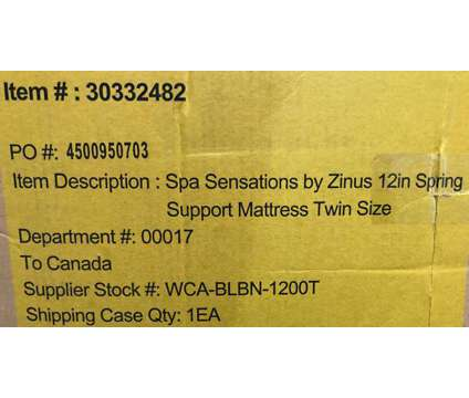"""(NEW) Spa Sensations Zinus 12"""" Spring Foam Comfort TWIN Mattress is a Green, White Beds for Sale in Toronto ON"""