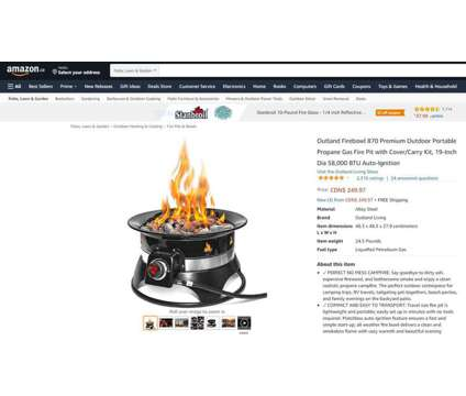 """(NEW) Portable Propane Gas Fire Pit 19"""" 58,000 BTU Auto Ignition is a Lawn, Garden & Patios for Sale in Toronto ON"""