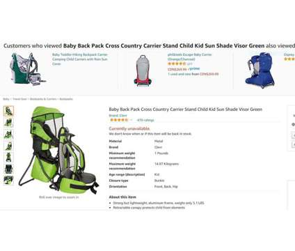 NEW ClevrPlus Cross Country Hiking Backpack Child Carrier GREEN is a Green Baby Backpacks & Carriers for Sale in Toronto ON
