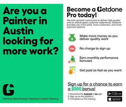 Painters/Pintores is a Contractor Painters Pintores in General Job at Getdone in Austin TX