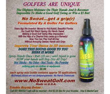 All Golfers Play Better! Stops Sweaty Grips, Safely All Day is a Golf Equipments for Sale in Osprey FL