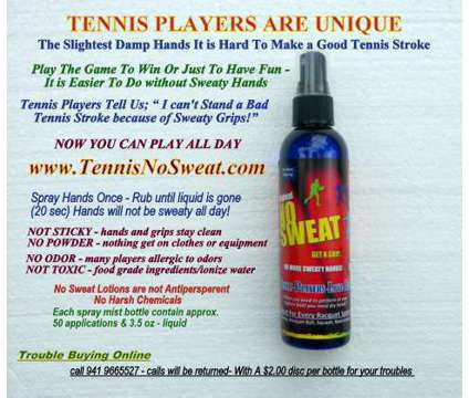 TENNIS We Stop Sweaty Grips Fast! A Win Win For You! More Aces, More Fun is a Tennis & Racquet Sports Equipments for Sale in Osprey FL