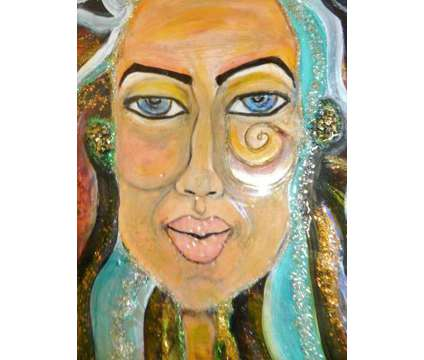 FABULOUS FUNKY SHINY Original Mixed Art Acrylic Pour Portrait of Woman is a Artworks for Sale in Sandy Springs GA
