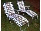 Vintage PAIR Aluminum Web Chaise Tri Fold Lawn Lounge